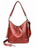 cheap -Women's Zipper Faux Leather / PU Top Handle Bag Solid Color Black / Brown