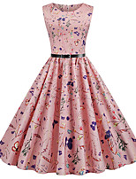 cheap -Women's Daily Dress Vintage Basic Swing Dress - Floral Print Blushing Pink S M L XL