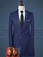 abordables -Noir / Blanche / Bleu Ciel Couleur Pleine Coupe Sur-Mesure Polyester Costume - En Pointe Droit 1 bouton / costumes