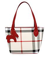 cheap -Women's Polyester / PU Top Handle Bag Lattice Black / Brown / Blushing Pink