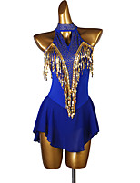 cheap -Figure Skating Dress Women's Girls' Ice Skating Dress Royal Blue Patchwork Stretch Yarn High Elasticity Competition Skating Wear Crystal / Rhinestone Sleeveless Figure Skating