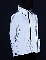 cheap -Men's Women's Cowl Neck Track Jacket Reflective Jacket Running Jacket Full Zip Solid Colored Sillver Gray Running Fitness Jogging Jacket Hoodie Long Sleeve Sport Activewear Reflective Windproof