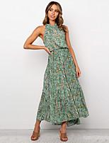 cheap -Women's Elegant A Line Dress - Floral Print White Red Green S M L XL
