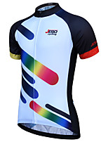 cheap -JESOCYCLING Men's Short Sleeve Cycling Jersey 100% Polyester Black / White Bike Jersey Top Mountain Bike MTB Road Bike Cycling Breathable Quick Dry Back Pocket Sports Clothing Apparel / Stretchy
