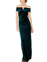 cheap -Sheath / Column Off Shoulder Floor Length Velvet Elegant Engagement / Formal Evening Dress 2020 with Split Front / Ruched