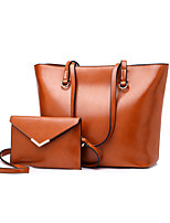 cheap -Women's Polyester / PU Bag Set Solid Color 2 Pieces Purse Set Black / Brown / Red