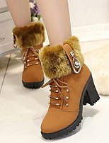 cheap -Women's Boots Chunky Heel Round Toe Suede Booties / Ankle Boots Winter Black / Dark Brown