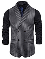 cheap -James Bond Gentleman Vintage Double Breasted Waistcoat Men's Slim Fit Cotton Costume Black / White / Gray Vintage Cosplay Party Halloween / Vest