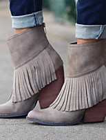 cheap -Women's Boots Chunky Heel Round Toe PU Booties / Ankle Boots Fall & Winter Black / Beige / Khaki