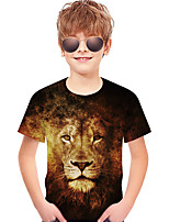 cheap -Kids Toddler Boys' Active Basic Lion Geometric Print 3D Print Short Sleeve Tee Brown