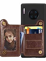 cheap -Case For Huawei Huawei Nova 4 / Huawei nova 4e / Mate 10 lite Card Holder / with Stand / Ultra-thin Back Cover Solid Colored PU Leather / TPU