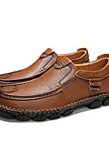 cheap -Men's Leather Shoes Nappa Leather Fall & Winter Casual Loafers & Slip-Ons Hiking Shoes / Walking Shoes Breathable Black / Dark Brown / Khaki
