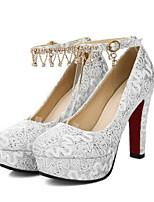 cheap -Women's Wedding Shoes Chunky Heel Round Toe PU Winter White / Yellow / Red