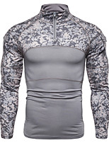 cheap -Men's Stand Running Shirt Half Zip Patchwork Camo / Camouflage Black Army Green Gray Cotton Running Fitness Jogging Tee / T-shirt Top Long Sleeve Sport Activewear Thermal / Warm Breathable Soft