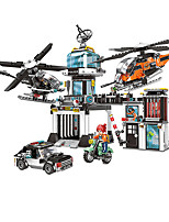 cheap -Building Blocks 1323 pcs Fighter Aircraft Moto compatible Legoing Simulation Motorcycle Police car Fighter All Toy Gift / Kid's