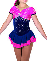 cheap -Figure Skating Dress Women's Girls' Ice Skating Dress Pink Patchwork Spandex High Elasticity Competition Skating Wear Patchwork Crystal / Rhinestone Sleeveless Ice Skating Figure Skating