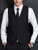 abordables -Noir / Gris Couleur Pleine Coupe Sur-Mesure Polyester Costume - Cranté Fin Droit 4 boutons / costumes