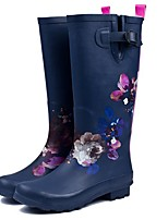 cheap -Women's Boots Low Heel Round Toe Rubber Knee High Boots Fall Dark Blue
