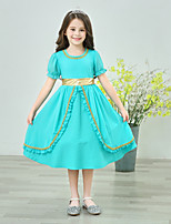 cheap -Princess Jasmine Dress Masquerade Flower Girl Dress Girls' Movie Cosplay A-Line Slip Cosplay Halloween Green Dress Halloween Carnival Masquerade Polyster