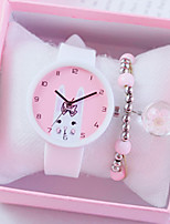 cheap -Women's Quartz Watches New Arrival Fashion Black White Blue Silicone Chinese Quartz Black White+Pink White Chronograph Cute New Design 2pcs Analog One Year Battery Life
