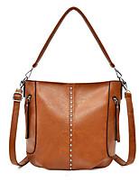 cheap -Women's Rivet Faux Leather / PU Top Handle Bag Solid Color Black / Brown / Wine