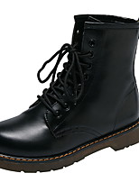 cheap -Women's Boots Flat Heel Round Toe PU Booties / Ankle Boots Winter Black