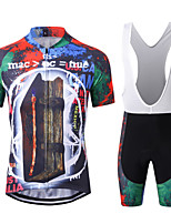 cheap -WECYCLE Men's Short Sleeve Cycling Jersey with Bib Shorts Winter Black / Red Bike Clothing Suit Breathable 3D Pad Warm Quick Dry Reflective Strips Sports Solid Color Mountain Bike MTB Road Bike