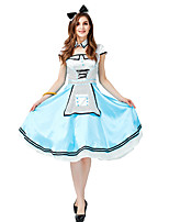 cheap -Maid Costume Dress Masquerade Flower Girl Dress Girls' Movie Cosplay A-Line Slip Cosplay Halloween Light Blue Dress Corsets Headwear Halloween Carnival Masquerade Polyester Satin