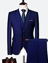 abordables -Noir / Bleu Ciel / Violet Couleur Pleine Coupe Sur-Mesure Polyester Costume - Cranté Droit 2 boutons / costumes