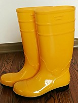 cheap -Women's Boots Low Heel Round Toe PVC Mid-Calf Boots Fall Yellow