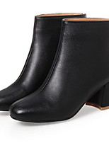 cheap -Women's Boots Chunky Heel Round Toe PU Booties / Ankle Boots Fall & Winter Black / White / Beige