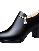 cheap -Women's Boots Chunky Heel Pointed Toe PU Fall Black / Burgundy