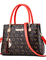 cheap -Women's Tassel Faux Leather / PU Top Handle Bag Letter Red / Coffee