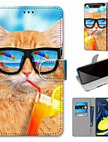 cheap -Case For Samsung Galaxy S10 / S10 Plus / S10 E Wallet / Card Holder / with Stand Soda Cat PU Leather / TPU for A10s / A20s / A50(2019) / A70(2019) / A90(2019) / Note 10 Plus / J6 Plus(2018)