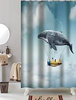 cheap -Cartoon Airship Shower Curtains & Hooks Classic Polyester Braided Waterproof