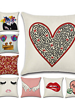 cheap -1pcs Valentine'S Day Red Lip Pillow 45 * 45 Love Linen Pillow Case Home