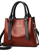 cheap -Women's Faux Leather / PU Top Handle Bag Solid Color Black / Brown / Earth Yellow