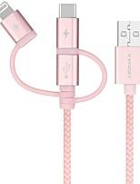 Недорогие -Micro USB / Подсветка / Type-C Кабель 3 A 1.0m (3FT) Все в одном / Плетение сплав цинка / Нейлон / TPE Адаптер USB-кабеля Назначение Macbook / iPad / Samsung
