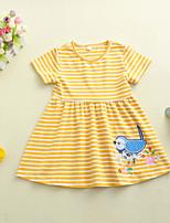 cheap -Kids Toddler Girls' Sweet Bird Embroidered Short Sleeve Above Knee Dress Yellow