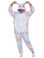 abordables -Adulte Pyjamas Kigurumi Lapin Combinaison de Pyjamas Molleton Violet Claire Cosplay Pour Homme et Femme Pyjamas Animale Dessin animé Fête / Célébration Les costumes / Collant / Combinaison