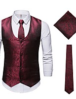 cheap -Plague Doctor Victorian Steampunk Waistcoat Paisley Coletes Men's Cotton Costume Black / Burgundy Vintage Cosplay Party Halloween / Fingertip Towel / Vest / Tie