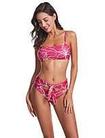 cheap -Women's Basic Blushing Pink Green Bandeau Cheeky Tankini Swimwear - Floral Print S M L Blushing Pink