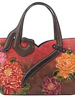 cheap -Women's Embossed Cowhide Top Handle Bag Purple / Red / Green