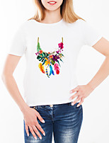 cheap -Women's Daily Going out Basic T-shirt - Floral Tropical Leaf / Cherry / Daisy, Print White