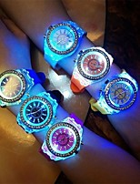 cheap -Women's Quartz Watches Fashion Black White Blue Silicone Quartz Black White Sky Blue Luminous LED Light Casual Watch Analog