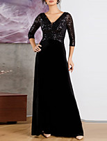 cheap -A-Line Plunging Neck Floor Length Velvet Formal Evening Dress with Sequin by LAN TING Express
