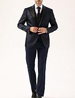 abordables -Noir / Marine foncé Avec motifs Coupe Sur-Mesure Polyester Costume - En Pointe Droit 1 bouton / costumes