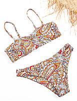 cheap -Women's Basic Dusty Rose Bandeau Cheeky High Waist Bikini Swimwear - Floral Geometric Lace up Print S M L Dusty Rose
