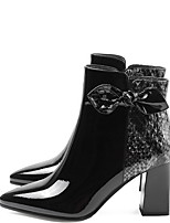 cheap -Women's Boots Chunky Heel Pointed Toe PU Booties / Ankle Boots Winter Black / Wine