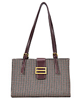 cheap -Women's PU Top Handle Bag Lattice Black / Wine / Coffee